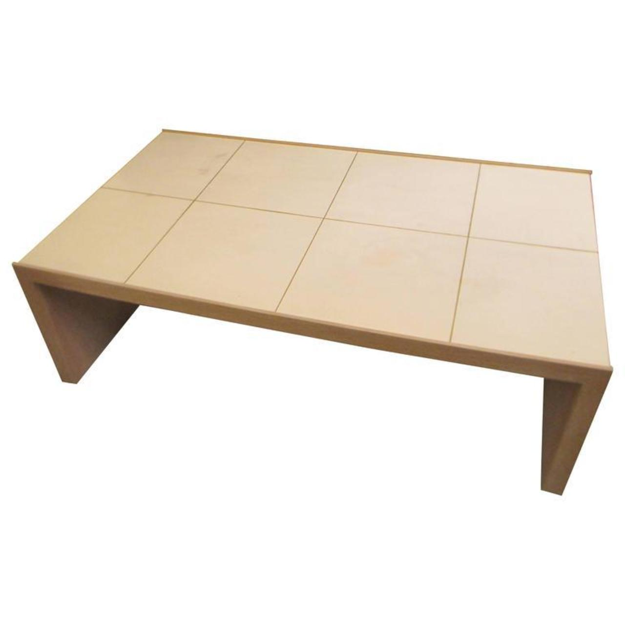 Oversized Cerused Oak And Brass Inlaid Coffee Table