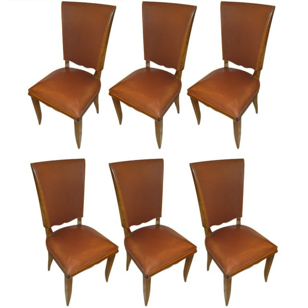 6445869940127 Set of Six French 1940s Leather Upholstered Dining Chairs ...