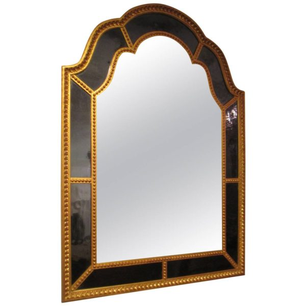 Giltwood Queen Anne Style Mirror With Cobalt Blue Glass Lerebours Antiques