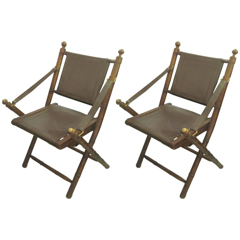 Pair Of Hand Stitched Leather And Faux, Folding Leather Campaign Chair