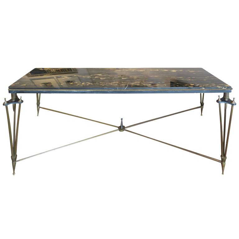 New York Marble Coffee Table: Gilbert Poillerat Style Bronze And Iron Coffee Table With